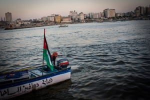 Madleen Koolab takes Gazan's out for rides on Thursday nights, a popular night for families. Madleen owns the boat and uses it to fish during the week