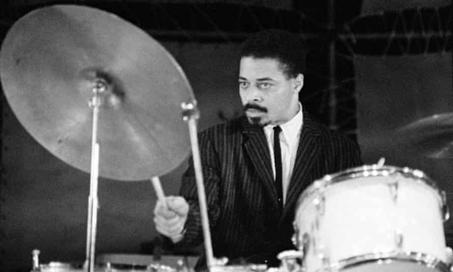 Drummer Jimmy Cobb performing on stage.
