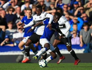 Fulham's Jean Michael Seri keeps to grips with Everton's Idrissa Gueye as they tussle for the ball as The Toffees beat Fulham 3-0 win at Goodison Park.