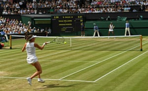 Johanna Konta flings a forehand back to Venus Williams.