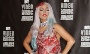 Ham it up: Lady Gaga wears a dress made of meat in 2010.