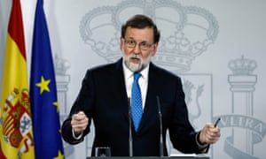 Spanish prime minister Mariano Rajoy gives a press conference at La Moncloa Palace in Madrid.