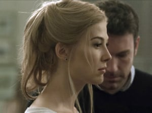 Rosamund Pike and Ben Affleck as Amy and Nick Dunne in the film adaptation of Gone Girl, directed by David Fincher
