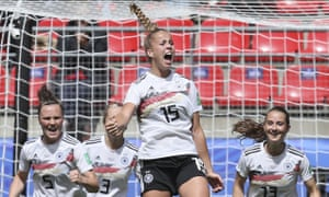 Germany's Giulia Gwinn celebrates her winner against China in the Women's World Cup.
