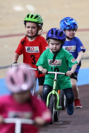 Determined faces during the children's race