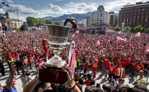 Athletic Bilbao supporters cheer the team in front of the City Hall in August 2015 as the players show off the the Spanish Super Cup, but Spain's major trophies have eluded the Basque club since 1984.