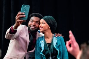 Ilhan Omar, newly elected to the U.S. House of Representatives on the Democrat ticket, celebrates with her supporters after her Congressional 5th District primary victory in Minneapolis, Minnesota