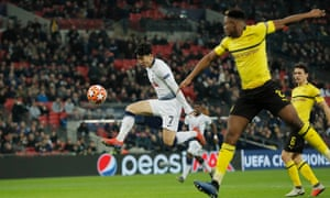 Son Heung-min scores Tottenham's first goal against Borussia Dortmund in the Champions League last-16 first leg. Spurs are through to the quarter-finals.