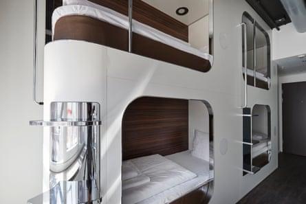 Futuristic dorm pod at Steel House hostel, Copenhagen