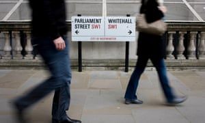 London - Whitehall street sign and passing citizens
