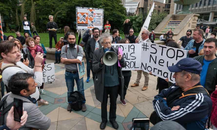 Piers Corbyn speaks at an anti-lockdown protest in Sheffield.