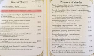 Le Gavroche menu, highlighting the £62.80 lobster starter.