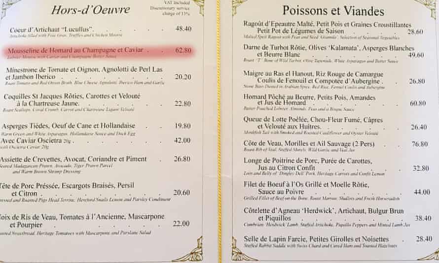 The menu at Le Gavroche