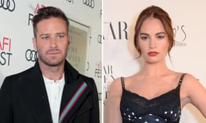 Armie Hammer and Lily James, who will star in the remake of Rebecca