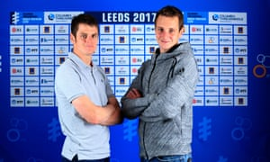 Jonny Brownlee, left, and Alistair Brownlee during the Columbia Threadneedle World Triathlon event at the weekend.