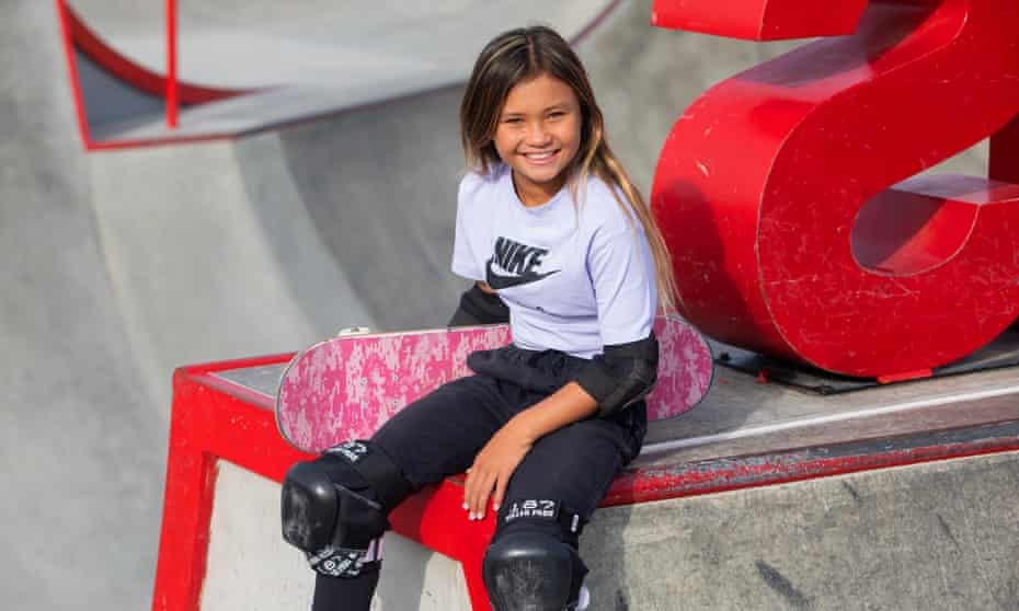 Sky Brown, pictured at a Huntington Beach skatepark in late 2019, usually spends six months of the year in her mother's country, Japan, where she will represent GB at next year's Olympic Games.