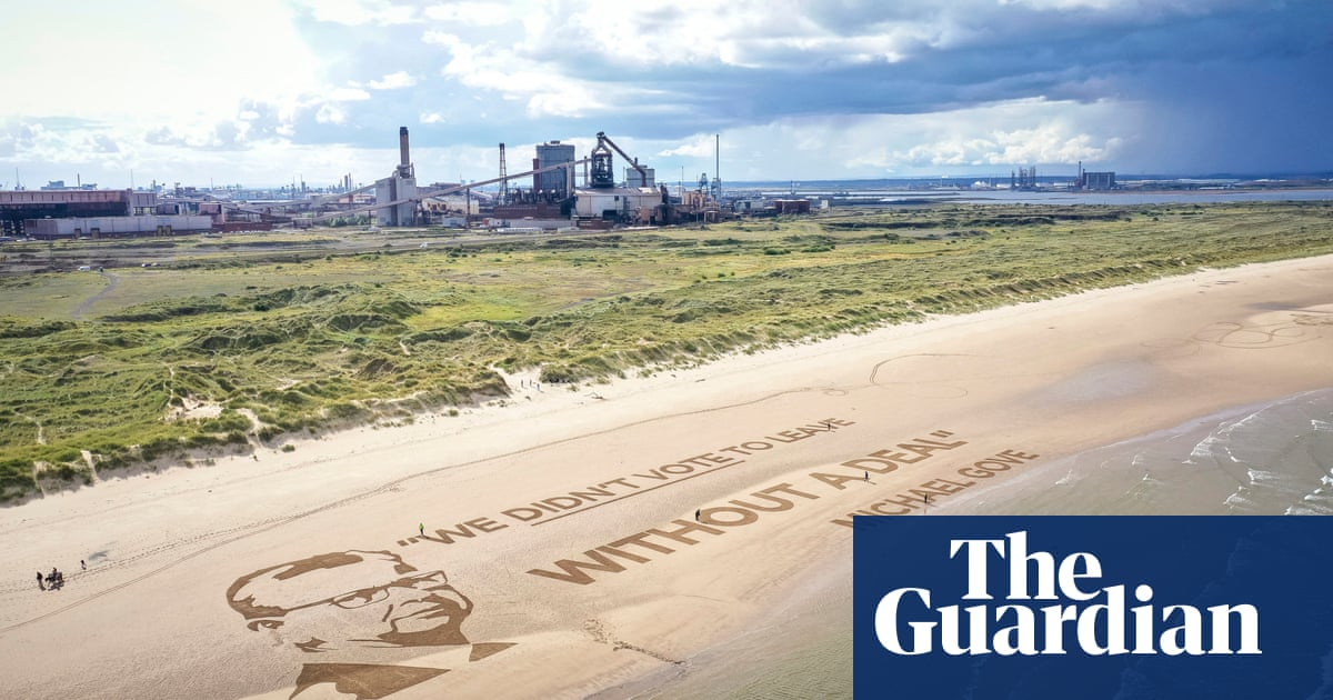 Gove portrait 'visible from space' appears on beach in Brexit protest