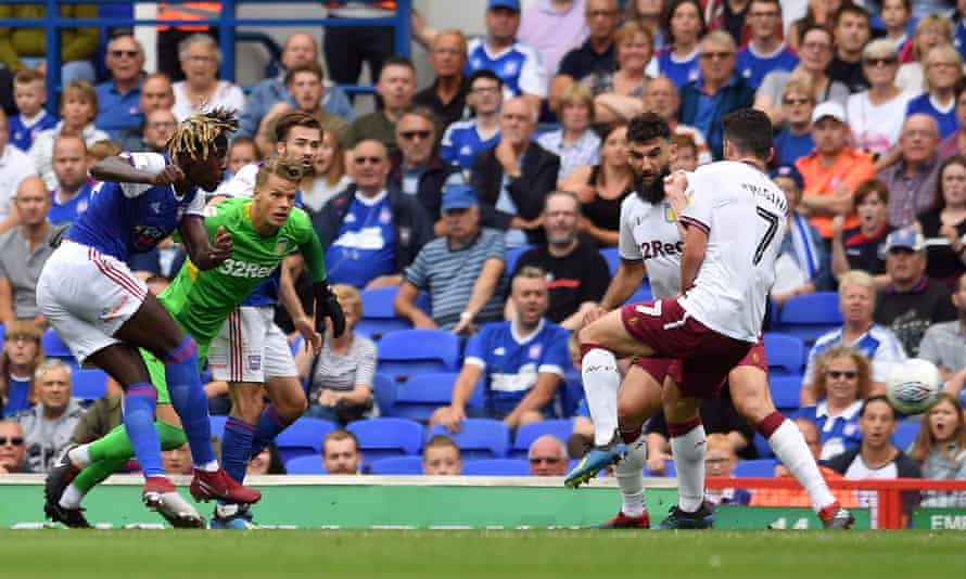 Trevoh Chalobah scores for Ipswich against Aston Villa in August 2018.