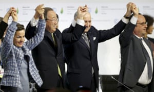 Christiana Figueres, executive secretary of the UN framework convention on climate change, UN secretary general Ban Ki-moon, French foreign affairs minister Laurent Fabius and French President François Hollande react during the final plenary session at the Paris climate conference.