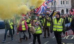 Pro-Brexit yellow vest protestors block roads around the Trafalgar Square in February 2019.