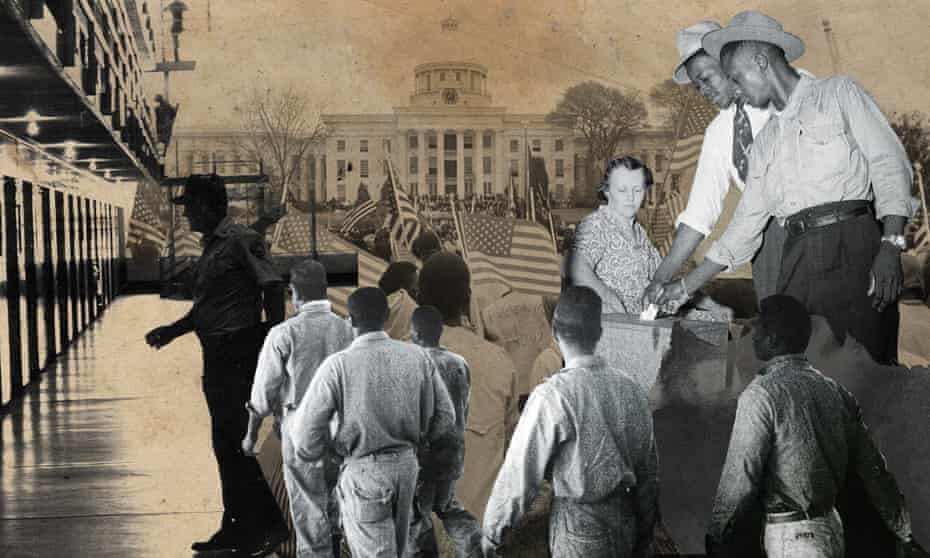 Incarcerated voters in the United States – a collage commissioned a piece for the Voting Rights project.