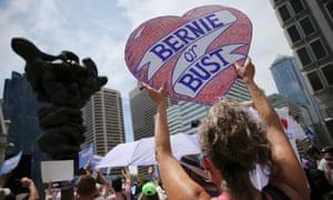 A Bernie Sanders supporter attends a rally in Philadelphia in 2016.