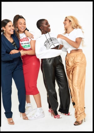 Alizé wears, Top, £250, Marques Almeida matchesfashion.com, Jumpsuit, £755, TIBI net-a-porter.com, Heels, £525, gianvitorossi.com, Erin wears dress, £525, Off-white selfridges.com, Top, £120, gcds.it, Trainers, Models Own, babirye wears, Top, £230, astridandersen.com, Bottoms, £755, stellamccartney.com, Nylo wears, Top, £xxx, Cotton Citizen, selfridges.com, Trousers, £318, Kappa x Faith Connexion pants faithconnexion.com
