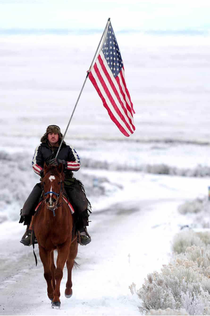 Occupier Duane Ehmer rides on horseback through the Malheur national wildlife refuge.