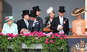 The Queen looks down from the Royal Box at Ascot.