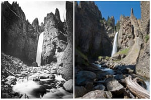 Yellowstone National Park: Through The Lens Of Time is an exhibition comparing the 1871 photography of William Henry Jackson with contemporary scenes shot by Bradley J. Boner. These are views of Tower Falls, seen from near its base