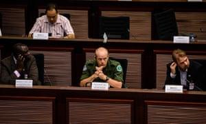 Garamba National Park manager Erik Mararv (centre) at Hong Kong's legislative council in June