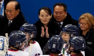 Kim Yo-jong applauds the womens Korean ice hockey team during her 'charm offensive' in South Korea