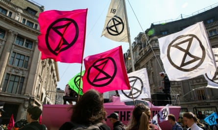 An Extinction Rebellion protest in Oxford Circus.