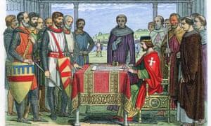 Colour-printed woodcut, 1864, of King John signing the Magna Carta at Runnymede