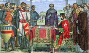 A colour-printed woodcut from 1864 shows King John ratifying Magna Carta at Runnymeade on 15 June 1215.