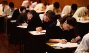 Teenage pupils sitting exams