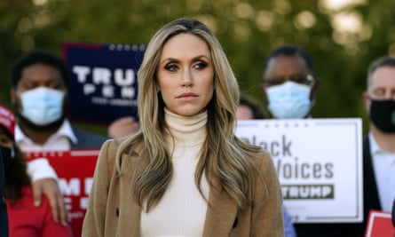 Lara Trump at a news conference on election day. Kellyanne Conway told the New York Times Lara Trump would be 'formidable'.