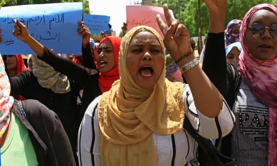 Sudanese protesters outside the army headquarters in Khartoum, Sudan.
