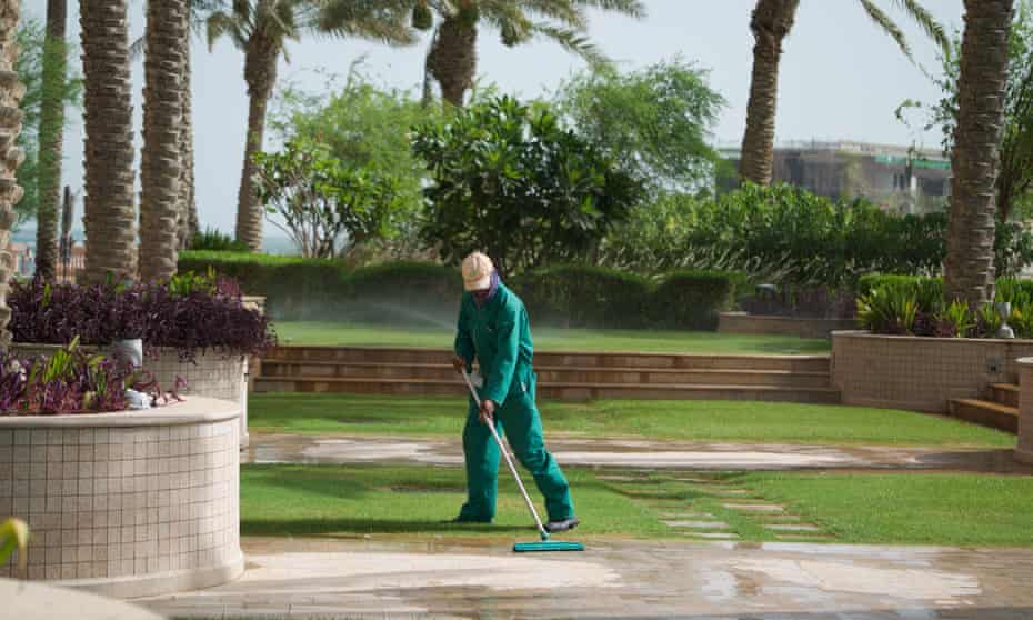 A gardener, not quoted in this article, at the Marsa Malaz Kempinski hotel in Qatar.