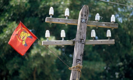 A Tamil Tiger flag tied to a telegraph pole