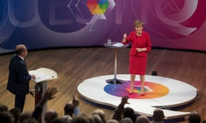 Nicola Sturgeon on the BBC Question Time programme in Edinburgh, presented by Nick Robinson.