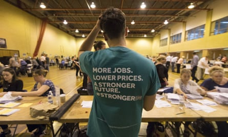 A remain supporter looks on as ballot papers are counted at Llanishen Leisure Centre on June 24, 2016 in Cardiff, Wales.