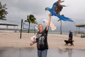 """Nancy on the beach with rescued cockatoos and """"Baby Blue,"""" Key West, FL, 2014This self-appointed 'Key West parrot lady' has been taking in parrots and macaws that are left on her doorstep for many years. Now in her 70's, she is worried about providing for the futures of these long-lived birds, and has been making arrangements with other rescues to care for them when she no longer can. She likes to take them to the beach, where she has a glass of wine at a table outside the front door of her favourite Italian restaurant – the owner provides a bread basket for the birds"""