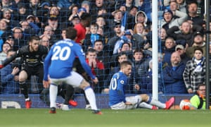 The prone and offside Gylfi Sigurdsson of Everton was adjudged to have interfered with play and the their late goal, put through his own net by Manchester United's Harry Maguire, was disallowed after being referred to VAR.