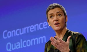 EU competition commissioner, Margrethe Vestager, says Qualcomm illegally shut out competitors.
