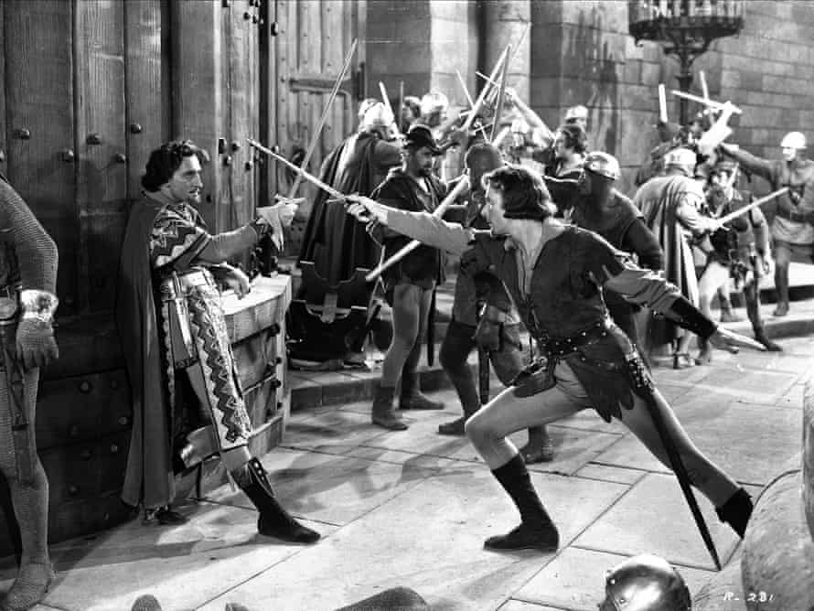 Basil Rathbone and Errol Flynn in The Adventures of Robin Hood.
