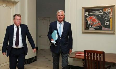 Britain's chief negotiator, David Frost (left) and the EU's Michel Barnier