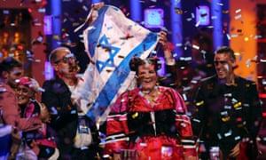 Netta Barzilai celebrates after winning Eurovision 2018