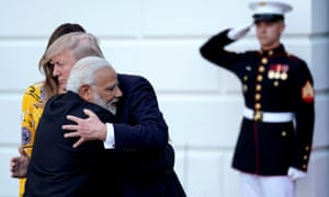 Modi hugs Donald Trump as he departs the White House after a visit