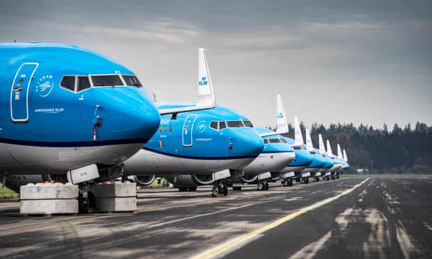 Grounded passenger planes at Groningen airport in Eelde, the Netherlands.
